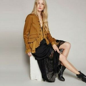 Free People Anthropologie Romantics Ruffle Open Front Military Jacket Size XS